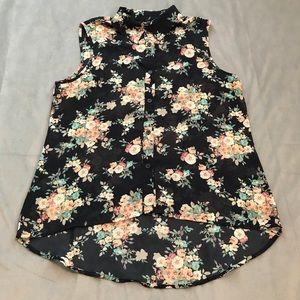 Rue 21 Floral Sleeveless Hi Lo Top EUC Size M